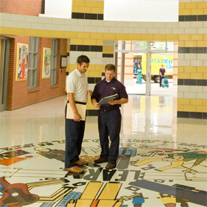 ServiceMaster janitorial services technician in Carroll County Maryland school